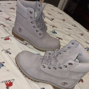 Gray purple Timberland boots
